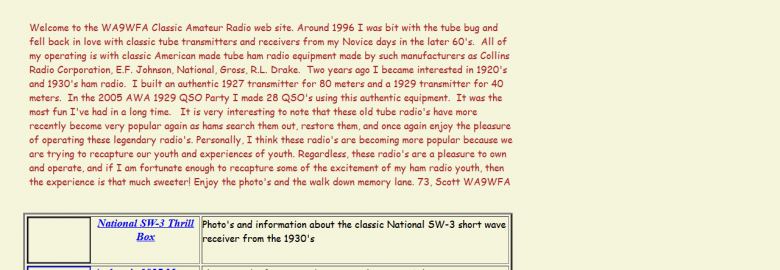 WA9WFA – Classic Ham Radio and National SW-3